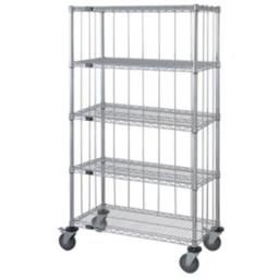 Quantum Storage M1860CG47RE-5 5 Shelf Rods & Tabs Enclosed Chrome Wire Shelving Cart - 74 in.