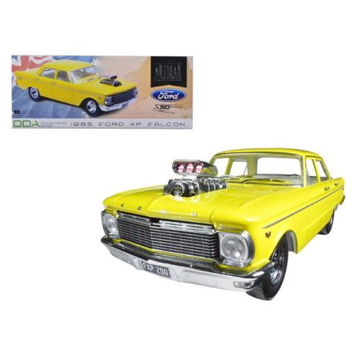 Greenlight DDA004 1 by 18 Scale Diecast 1965 Ford XP Falcon Yellow 50th Anniversary with Engine Blower Model Car