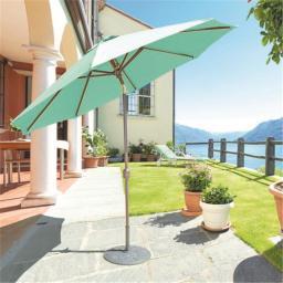 Galtech 9 ft. Rib Champagne Deluxe Auto Tilt Umbrella - Olive Green Suncrylic 737rc38