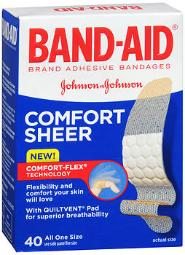 Band-aid Sheer Strips Adhesive Bandages, All One Size 40 Ea, Pack Of 3