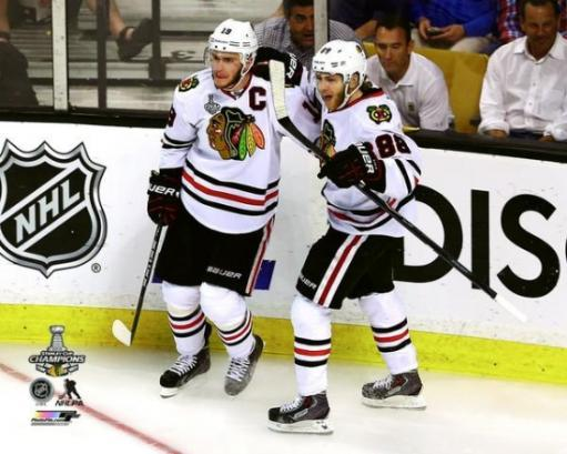 Jonathan Toews & Patrick Kane Game Six of the 2013 NHL Stanley Cup Finals Photo Print UN1TARADAURLAR9D