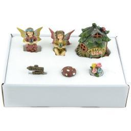 Fairy Garden Kit 6/Pkg-House/2 Fairies/Sign/Flower Pot/Mushroom 55210