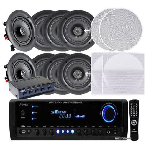 Pyle KTHSP390S 5.25 in. 4 Pairs of 150W In-Wall In-Ceiling Stereo White Speakers with 300W Digital Home Stereo Receiver with USB SD AUX Input, Remote