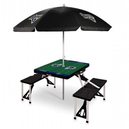 Picnic Time 811-02-175-335-2 Sport Table with Umbrella Los Angeles Rams Digital Print, Black