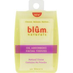 Blum Naturals Oil Absorbing Facial Tissues - 50 Sheets - Case Of 6