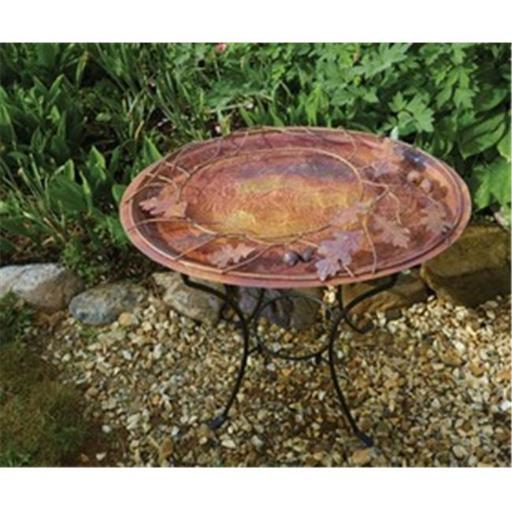 Ancient Graffiti ANCIENTAG17044 Oval Branch Flamed Standing Birdbath