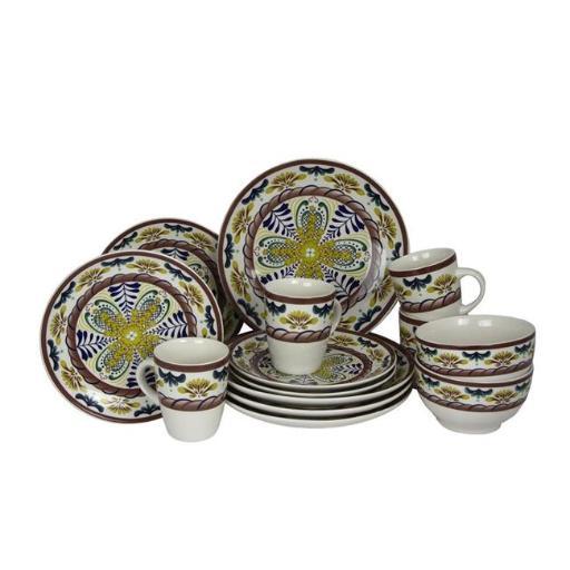 Elama EL-COUNTRYSIDE-SUNRISE Sunrise 16 Piece Stoneware Dinnerware Set