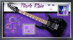 Prince Signed Guitar - Purple Rain Themed In Wooden Framed Case