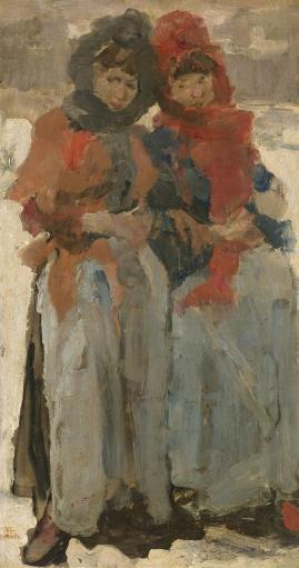 Two Young Women In The Snow, Isaac Israels, C. 1890-94, Dutch Painting, Oil On Panel. Two Warmly Dressed Women On An Amsterdam Street Poster Print