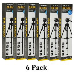"6 Pack 58"" Targus Camera Camcorder Tripod 3-Way Fluid Pan Head Bubble Level"