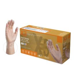 X3 Vinyl Disposable Gloves Large Clear Powder Free 100 pk - Case Of: 1;