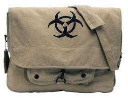 "Vintage ""Bio-Hazard"" Paratrooper Shoulder Bag, Khaki"