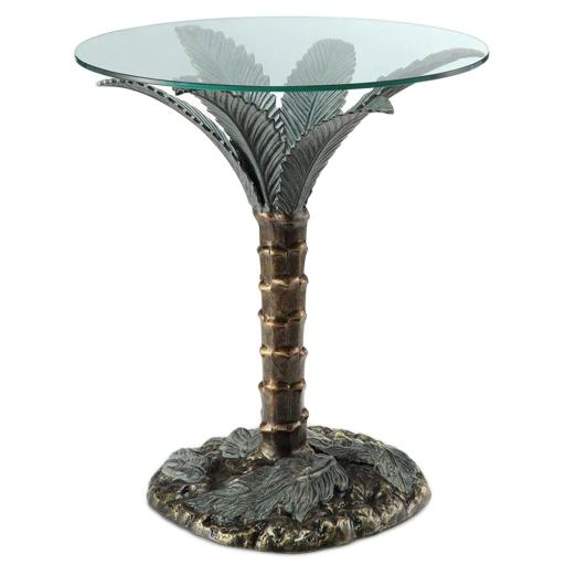 Cast Aluminum Palm Tree Glass Top End Table