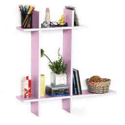 Pale Pink-B Leather Cross Type Shelve / Book Shelve / Floating Shelve (4 pcs)