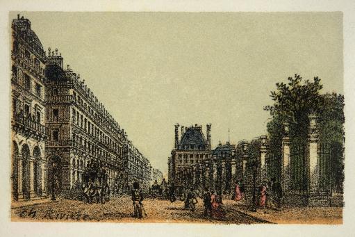 Gravure / Paris En 1874: La Rue De Rivoli / Coll. Part. C19465 / Gravure / Paris En 1874: La Rue De Rivoli / Coll. Part. Poster Print