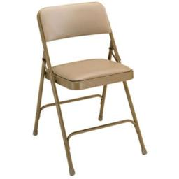 National Public Seating 1201 Vinyl Upholstered Premium Folding Chair French Beige with Beige Frame- Set of 4