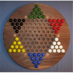 Charlies Woodshop W-1926.1 18 in. Circle Oiled Chinese Checkers Wooden Marble Game Board with 6 Birch Inlaid Spots , Black Walnut