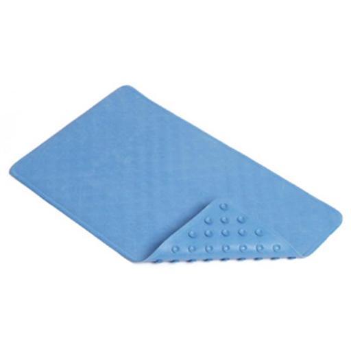 Kittrich BMAT-C4K01-04 16 x 28 in. Blue Shells Rubber Bath Mat