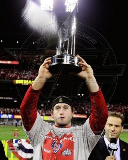 David Freese WITH World Series MVP Trophy Game 7 of the 2011 MLB World Series 1BXMSARHLBJR8JYH