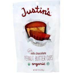Justins Nut Butter Peanut Butter Cup - Organic - Milk Chocolate - Mini - 4.7 oz - case of 6