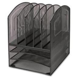 Lorell LLR95255 Desk Organizer,5-Vert.-3-Horz.,9.5 in. x 11.38 in. x 13 in.,Black Mesh