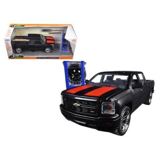 Jada 97690 2014 Chevrolet Silverado Pickup Truck Matt Black Just Trucks with Extra Wheels 1-24 Diecast Model