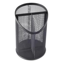 Universal Office Products 20019 Metal Mesh 3-Compartment Pencil Cup, Black