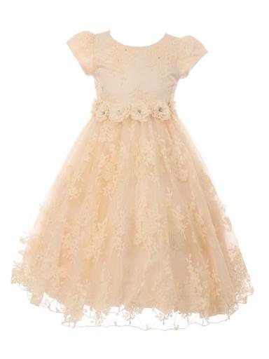 Little Girls Champagne French Chantilly Lace T-Length Flower Girl Dress 2-6