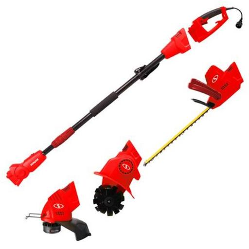 Sun Joe GTS4000E-RED Electric Lawn Care System, Pole Hedge Trimmer, Grass Trimmer & Garden Tiller - Red