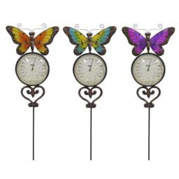 Alpine Ljj156a Butterfly Stake With Thermometer - Assorted Display Of 6