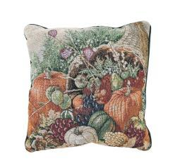 Bountiful Harvest Autumn Pumpkins Tapestry Decorative Throw Pillow 17in.
