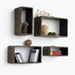 Floral AromaRectangle Leather Wall Shelf / Bookshelf / Floating Shelf Set of 4
