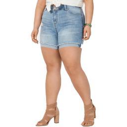 Celebrity Pink Womens Plus Denim Cuffed Denim Shorts