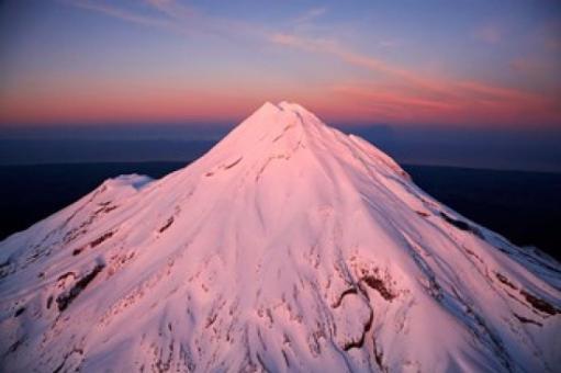 Mountain Alpenglow, Taranaki, North Island, New Zealand Poster Print by David Wall