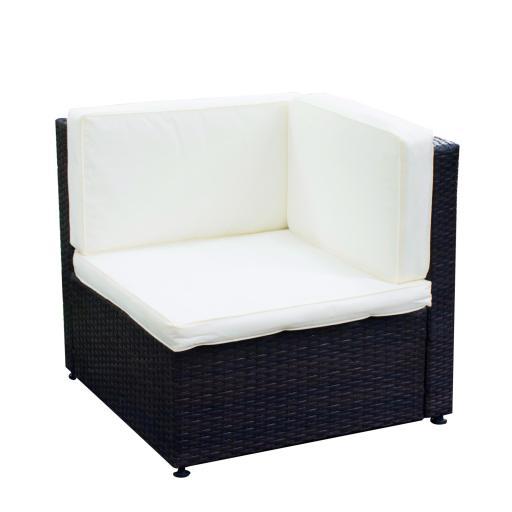 Yescom Outdoor PE Rattan Wicker Corner Sofa Chair Seat Cushioned UV Protection Patio Backyard Garden Furniture
