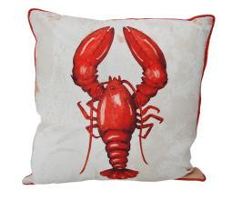 Red and White Lobster Print Red Trim Coastal Throw Pillow