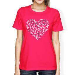 Pink Ribbon Heart Cancer Awareness Shirt For Women Hot Pink Cotton