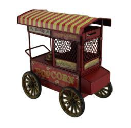10 in. Red Vintage Finish Popcorn Cart Metal Coin Bank