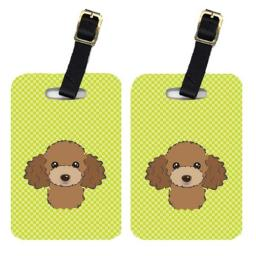Carolines Treasures BB1318BT Pair Of Checkerboard Lime Green Chocolate Brown Poodle Luggage Tags