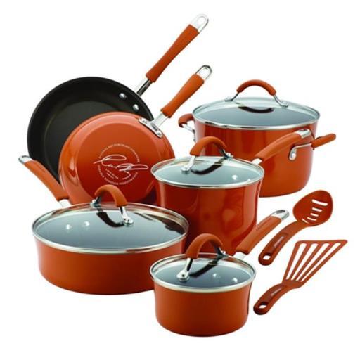 Cucina Hard Enamel Nonstick 12-Piece Cookware Set, Pumpkin Orange