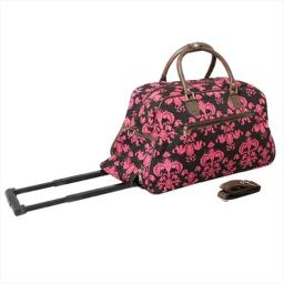All-Seasons 8112022-632 21 in. Designer Prints Damask Carry-On Rolling Duffel Bag, Brown & Pink