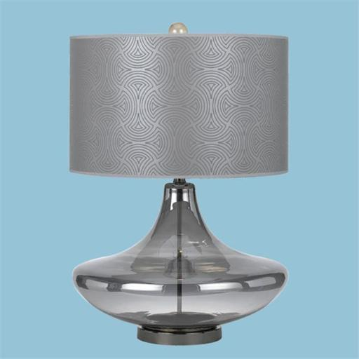 Cicso Independent 8900-TL Skinny Dip Glass Table Lamp with Grey Shade-Smoke Glass