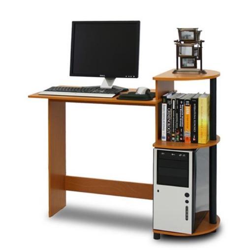Furinno Compact Computer Desk, Light Cherry & Black - 33.6 x 39 x 15.6 in.