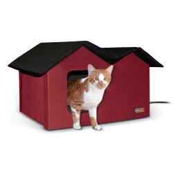 K&h pet products 3974 red k&h pet products outdoor kitty house extra-wide heated red 21.5 x 14 x 13