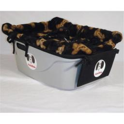 FidoRido Products FRG2BLB-SM Gray Two-Seater with Fleece in Black with Tan Dog Bones and A Small Harness and A Medium Harness