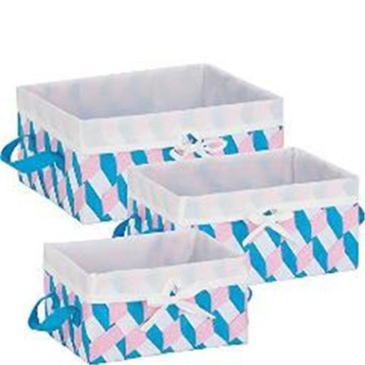 HoneyCanDo STO-06680 Twisted Tote, Pink, Blue & White - Set of 3 4SOY9ODQNMC9BPSK