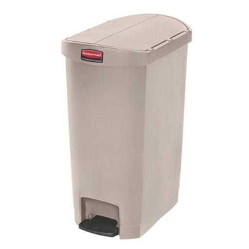 Rubbermaid Commercial Prod. 1883459 Slim Jim Resin Step On Container, End Step Style & 13 Gal-Beige