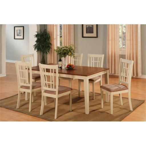 East West Furniture NICO5-WHI-C 5 Piece Dining Room Set For 4-Table With Leaf and 4 Dining Chairs