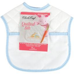 """Quilted Baby Bib 14 Count 9""""X9""""-Blue Polka Dots"""