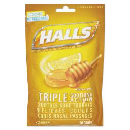 Triple Action Cough Drops Honey-Lemon 30/Bag 12 Bags Per Box   1 Box of: 12